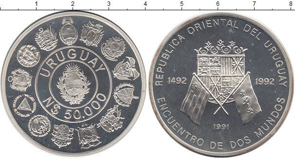 Картинка Монеты Уругвай 50.000 песо Серебро 1991