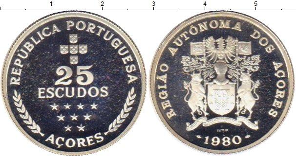 Картинка Монеты Азорские острова 25 эскудо Серебро 1980