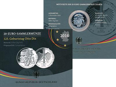 Изображение Подарочные монеты Германия 20 евро 2016 Серебро Proof G, Отто Дикс