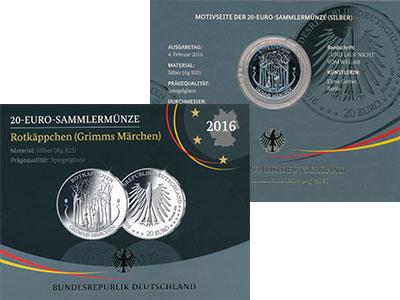 Изображение Подарочные монеты Германия 20 евро 2016 Серебро Proof А, Красная шапочка