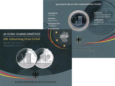 Изображение Подарочные монеты Германия 20 евро 2016 Серебро Proof D, Эрнст Литфасс