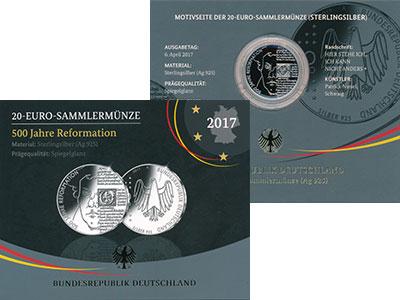 Изображение Подарочные монеты Германия 20 евро 2017 Серебро Proof А, 500 лет Реформаци