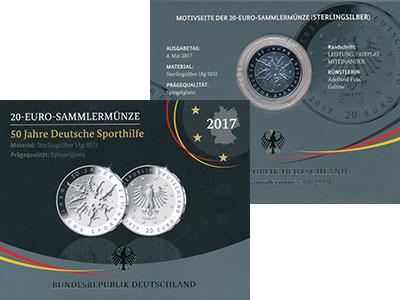 Изображение Подарочные монеты Германия 20 евро 2017 Серебро Proof 50 лет Немецкому фон
