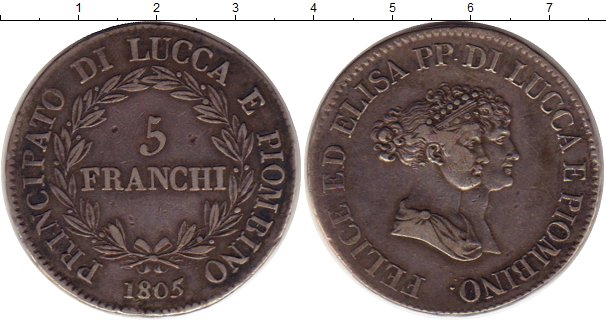 Картинка Монеты Лукка 5 франков Серебро 1805