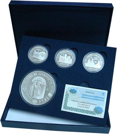 Изображение Подарочные монеты Испания Святой год Компастелы 1999 Серебро Proof Набор посвящен Свято