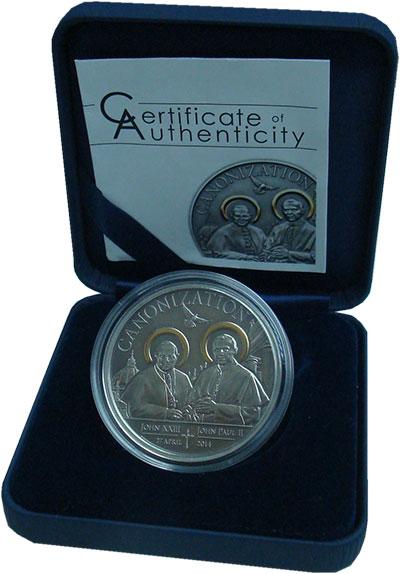 Изображение Подарочные монеты Танзания 1.000 шиллингов 2014 Серебро UNC Канонизация Иоанна X
