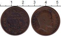 Изображение Монеты Индия 1/4 анны 1908 Бронза VF