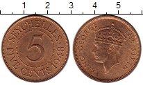 Изображение Монеты Сейшелы 5 центов 1948 Бронза UNC-