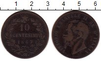 Изображение Монеты Италия 10 сентесим 1867 Медь XF-