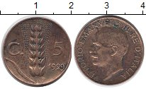 Изображение Монеты Италия 5 сентесим 1929 Бронза XF