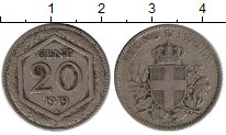 Изображение Монеты Италия 20 сентесим 1919 Медно-никель XF-