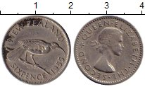 Изображение Монеты Новая Зеландия 6 пенсов 1955 Медно-никель XF-