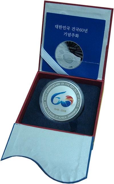 Изображение Подарочные монеты Южная Корея 60 лет Республики 2008 Серебро Proof Монета номиналом в 3