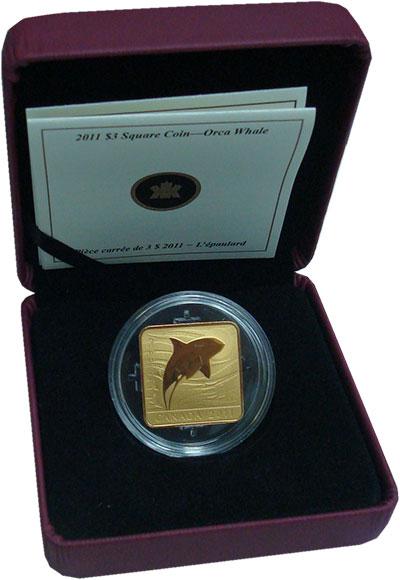 Изображение Подарочные монеты Канада 3 доллара 2011 Серебро Proof Косатка. Тираж 15000