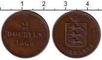 Изображение Монеты Великобритания Гернси 2 дубля 1868 Бронза XF