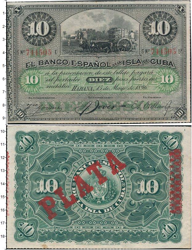 Картинка Банкноты Куба 10 песо  1896