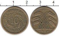 Изображение Монеты Веймарская республика 10 пфеннигов 1924 Латунь XF-