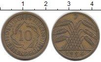 Изображение Монеты Германия Веймарская республика 10 пфеннигов 1924 Латунь XF-