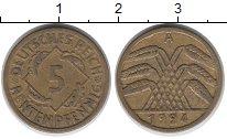 Изображение Монеты Веймарская республика 5 пфеннигов 1924 Латунь XF-