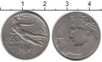 Изображение Монеты Италия 20 сентесим 1908 Медно-никель XF-
