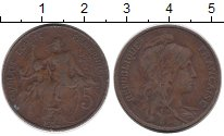 Изображение Монеты Франция 5 сантим 1914 Бронза VF