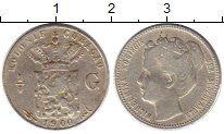 Изображение Монеты Нидерланды Кюрасао 1/4 гульдена 1900 Серебро XF-