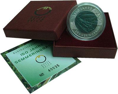 Изображение Подарочные монеты Австрия 25 евро 2004 Серебро Proof 150 лет Земмерингско