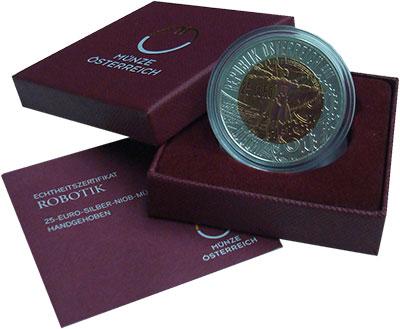 Изображение Подарочные монеты Австрия 25 евро 2011 Серебро Proof Роботизация. Серебро