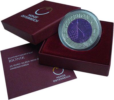 Изображение Подарочные монеты Австрия 25 евро 2012 Серебро Proof Бионика. Серебро 900