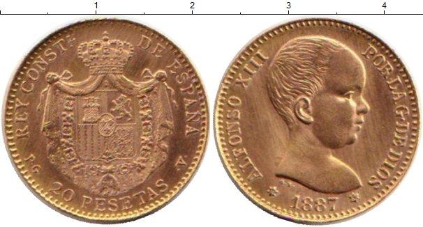 Картинка Монеты Испания 20 песет Золото 1887