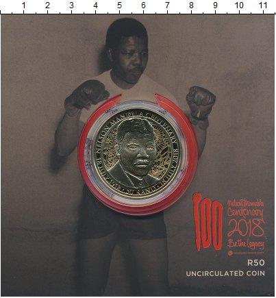 Изображение Подарочные монеты ЮАР 50 рандов 2018 Латунь UNC Нельсон Манделла. Ор