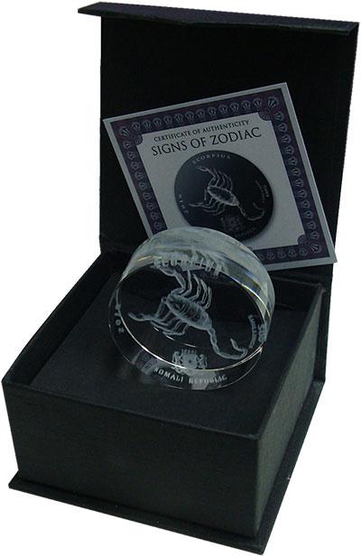 Изображение Монеты Сомали 500 шиллингов 2018 Стекло UNC Знаки зодиака. Скорп