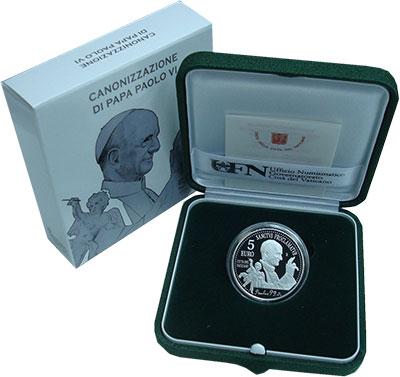 Набор монет Ватикан 5 евро Серебро 2018 Proof