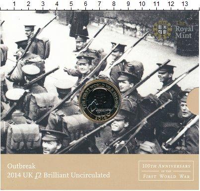 Изображение Подарочные монеты Великобритания 2 фунта 2014 Биметалл UNC Елизавета II. 100 ле