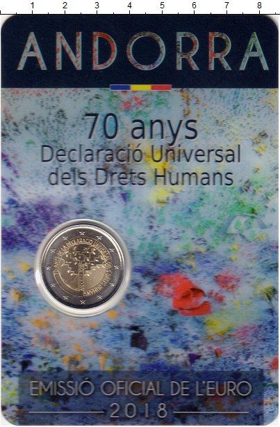 Изображение Подарочные монеты Андорра 2 евро 2018 Биметалл UNC 70 лет Всеобщей декл