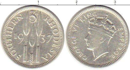 Картинка Монеты Родезия 3 пенса Серебро 1937
