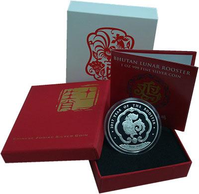 Изображение Подарочные монеты Бутан 200 нгултрум 2017 Серебро Proof Год  Петуха.<br>Ори