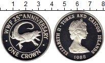 Изображение Монеты Великобритания Теркc и Кайкос 1 крона 1988 Серебро Proof-