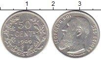 Изображение Монеты Бельгия 50 сантим 1909 Серебро XF