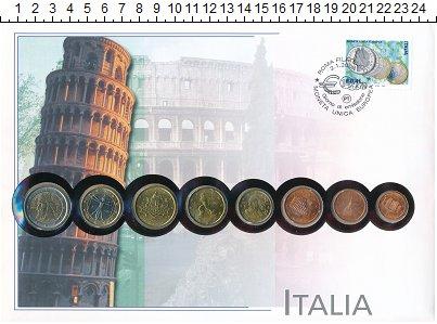 Изображение Подарочные монеты Италия Италия 2002 2002  UNC- В наборе 8 монет ном