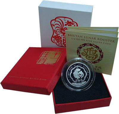 Изображение Подарочные монеты Бутан 100 нгултурм 2017 Серебро Proof Год Петуха. Оригинал