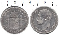 Изображение Монеты Испания 5 песет 1883 Серебро XF-