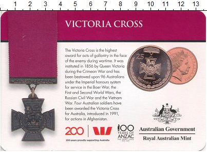 Монета Австралия 25 центов Медь 2017 UNC фото
