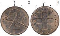 Изображение Монеты Швейцария 2 раппа 1963 Бронза XF+