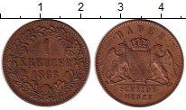 Изображение Монеты Германия Баден 1 крейцер 1866 Медь XF