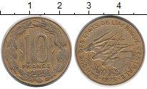 Изображение Монеты Центральная Африка 10 франков 1975 Латунь XF