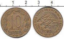 Изображение Монеты Центральная Африка 10 франков 1977 Латунь XF