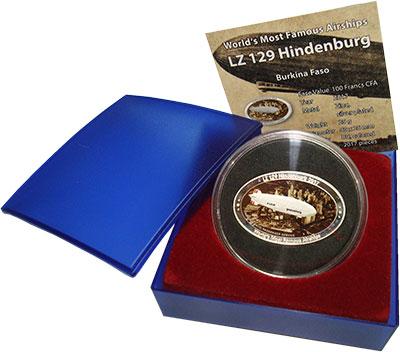 Изображение Подарочные монеты Буркина Фасо Олимпиада 80 2017 Посеребрение BUNC `Дирижабль ``LZ 129
