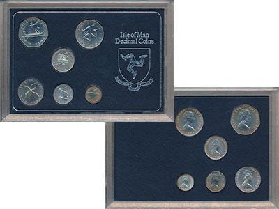Изображение Подарочные монеты Остров Мэн Остров Мэн 1976 1976 Серебро UNC В наборе 6 монет ном