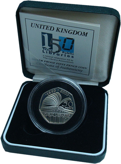 Изображение Подарочные монеты Великобритания 50 пенсов 2000 Серебро Proof Елизавета II. 150 ле